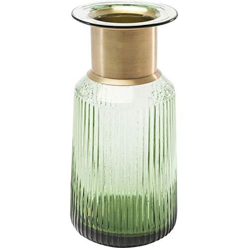 Kare Design Vase Barfly Green 30cm, schöne Blumenvase in grün und gold, gefärbtes Glas, Dekovase, elegantes Geschenk (H/B/T) 30x15x15cm