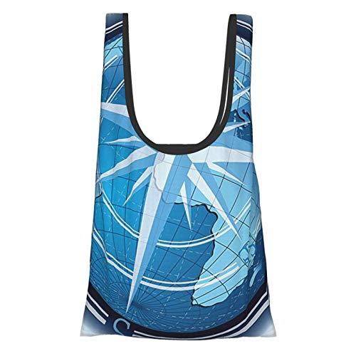 Compass Decor Collection Abstrakte Komposition mit Globus und Windrosen-Kontinenten, Ozean, moderne Illustration, marineblau, wiederverwendbare Einkaufstasche, umweltfreundliche Einkaufstasche