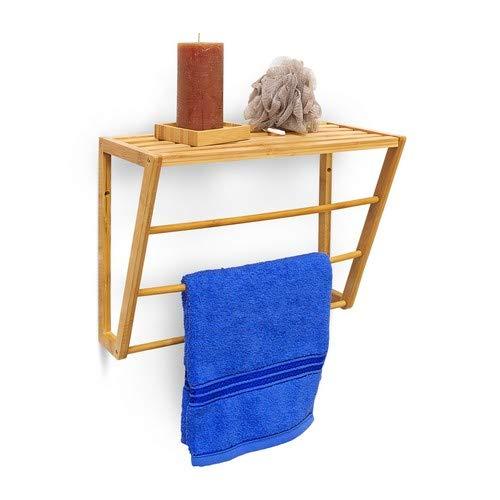 Relaxdays Bamboe handdoekhouder met rek opbergruimte 30 x 42 x 20 cm wand, hout, natuurbruin