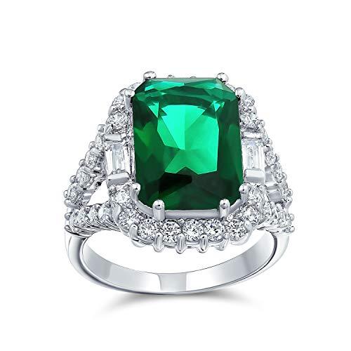 Bling Jewelry 7CT Cubic Zirconia CZ Rettangolo Verde Smeraldo Simulato Tagliare Anello di Moda per Donne in Ottone Placcato in Argento