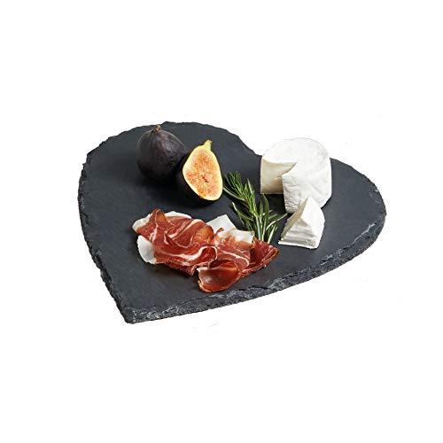 KitchenCraft Herzförmige Master Class Artesa Schiefer-Servierplatte, Keramik, Slate Grau, 25 x 25 x 0.6 cm