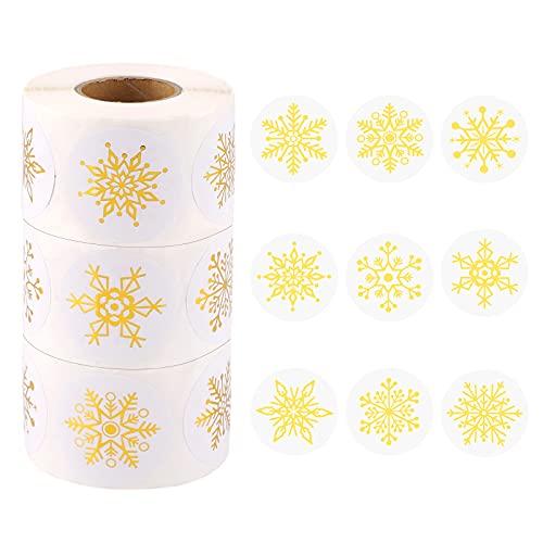 Pegatinas Etiqueta Adhesiva de Copo de Nieve, 1500 piezas de pegatinas navideñas en rollo, etiquetas adhesivas redondas,...