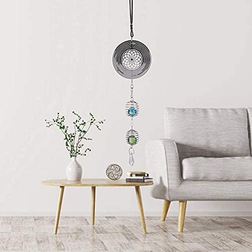 Jeffergarden Windspiele Elegante Rotierende Niedliche Windspiele, Windspiel, Spiralförmig, Kugel aus Metall, Musikglas für Innen und Außenbereich (A)