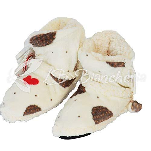 RP daunex–Botines morbidotto Patucos Zapatillas Pies Erizo Love-Fondo Antideslizante, Interior agnellato- Idea Regalo–38–40–Crema
