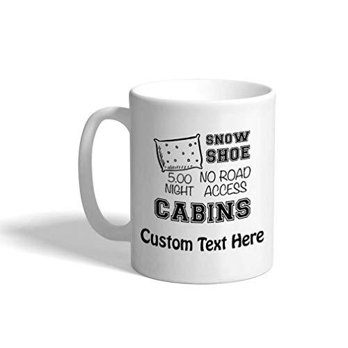 N\A Taza de café Personalizada, 11 onzas, para Raquetas de Nieve, cabañas y cabaña, Taza de té de cerámica, Texto Personalizado aquí