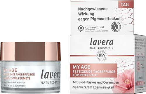 lavera MY AGE Festigende Tagespflege, mit Bio-Hibiskus und Ceramiden pflanzlichen Ursprungs, mindert Pigmentflecken, für reife Haut, zertifizierte Naturkosmetik, vegan, 50 ml