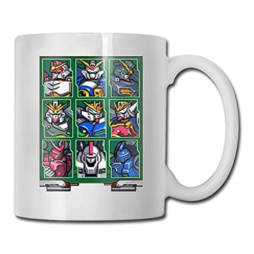 N\A Gundam Wing Mecha Select Home Taza de té de cerámica para Oficina Taza de café Blanca de 11 oz