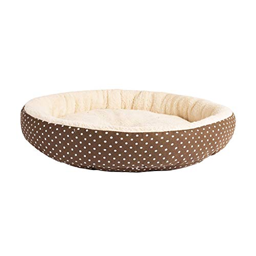 Guomaomao Pet Bed Zachte Kat Bed Huis Ronde Opvouwbare Pluche Hond Slapende Mat Kussen Nest Warm Wasbaar Kennel Puppy Kitten Verbergen Burger Brood Winter, 34CM, D