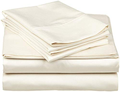 Exclusive Sheets - 4 Piece Sheet Set 16' (40cm Deep Corners) - Long Staple 1000 Thread Counts 100% Egyptian Cotton (UK-Small Double Size, Ivory Solid)
