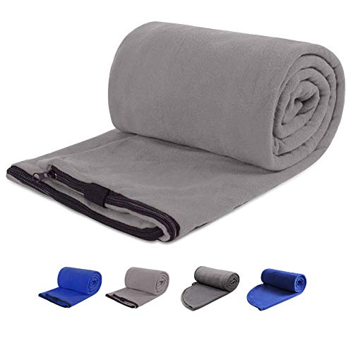 REDCAMP Fleece Sleeping Bag Liner for Adult Warm or Cold Weather, 75 Long Full Sized Zipper Camping Blanket for Outdoor Indoor Used with Sack, Grey