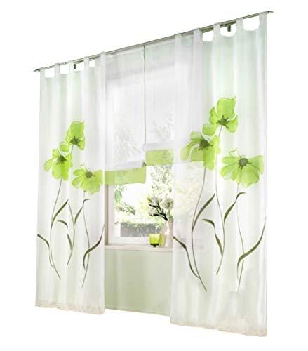 BAILEY JO 1er-Pack Gardine Floral Gardinen Schlaufen mit Blumen Druck Transparent Voile Vorhang (BxH 150x245cm, grün)