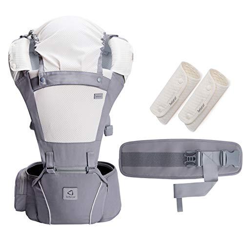 Bebamour Marsupio per 0-36 mesi, marsupio traspirante da neonato a bambino, approvato dagli standard di sicurezza, seggiolino ergonomico 6 in 1 anteriore (Light Grey)