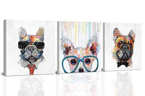 Hand-Painted Dog Canvas Wall Art,French Bull Dog Wearing Sunglasses Oil Painting,Puppy Face Artistic Picture for Home Decoration 3 Panels 14x14in