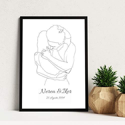 Nacnic Lamina Personalizada Abrazo Pareja. Poster Pareja abrazandose con tu Nombre y Aniversario. Cuadro para Pareja Personalizado. Cuadro de diseño Personalizado para tu hogar o Regalar