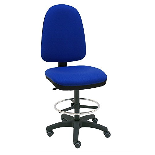 Centrosilla Sgabello girevole Ufficio ergonomico Torino, regolabile in altezza e profondità, Anello Poggiapiedi Cromato Regolabile con Ruote di parquet - blu