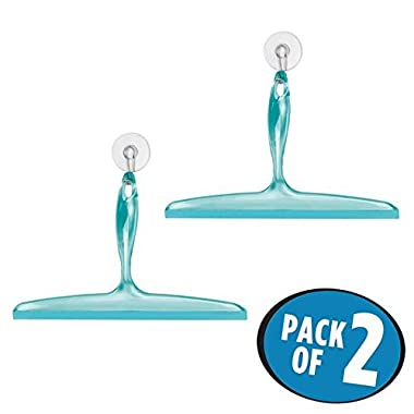 mDesign Bathroom Shower Squeegee with Suction Hook - Pack of 2, 12 , Blue