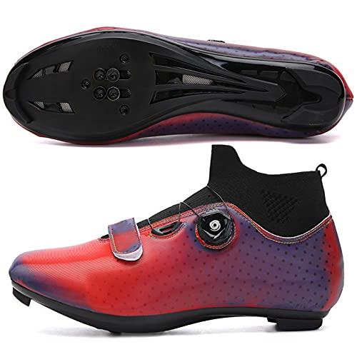YQSHOES Zapatillas Ciclismo para Hombre Zapatillas Bicicleta Carretera SPD/Delta Cleats Zapatillas Ciclismo Compatibles para Suela Antideslizante Exteriores,Rojo,42EU/8.5UK/9US