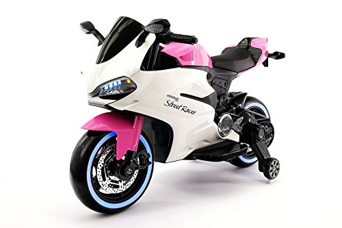 Street Racer 12V Battery Power Motorized Electric Kids Ride-On Motorcycle Bike + EVA Foam Rubber LED Wheels + Leather Seat + MP3 Music Player + Spring Shock Suspension + Training Wheels (Pink)