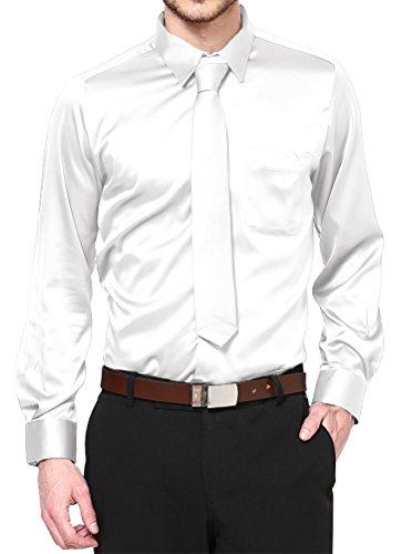 Daniel Ellissa Boys Long Sleeve Satin Dress Shirt Tie and Hanky, White, Kid's 10 (Kid's 10)