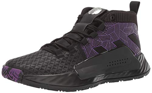 adidas Men's Dame 5 Baseball Shoe, Black/Active Purple/Silver, 4.5 Medium US Big Kid