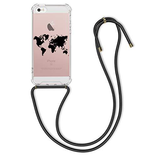 kwmobile Cover a Tracolla Compatibile con Apple iPhone SE (1.Gen 2016) / 5 / 5S - Back Case in Silicone con Laccio per Il Collo - Custodia con Cordino - Contorni Nero/Trasparente