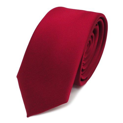 TigerTie schmale Satin Krawatte in rot karminrot einfarbig uni
