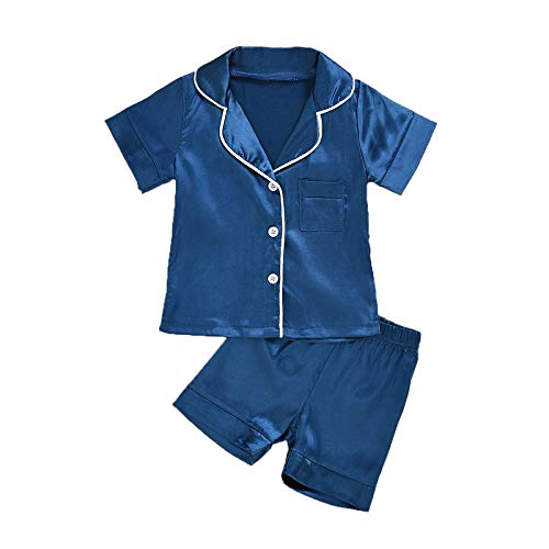 Kinder Schlafanzug Mädchen Jungen Satin Pyjama Set Sommer Pyjama Button-Down Kurzarm Shirt Shorts Nachtwäsche für Kinder Boys Girls Drucken Kurz Zweiteilige Sleeplounge Kleidung Set