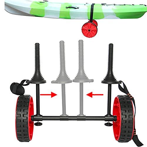 Carrito Kayak Plegable, Carro De Transporte Kayak, Carro para Barcos Canoas con 2 Neumático Macizo, Carga 65kg