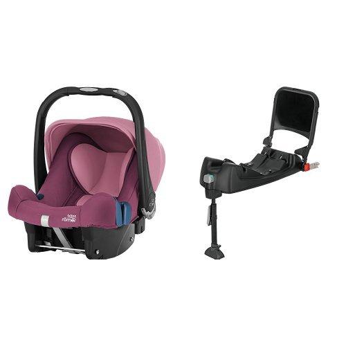 Britax Römer Baby-Safe Plus SHR II, Babyschale Set Gruppe 0+ (Geburt - 13 kg), Kollektion 2019, inkl. Isofix-Station, wine rose