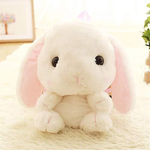 Sosa Cute Plüsch Kaninchen Rucksack Japanische Kawaii Bunny Rucksack Gefüllte Kaninchen Spielzeug Kinder Schultasche Geschenk Nettes Spielzeug Für Mädchen, weiß, 31cm-50cm