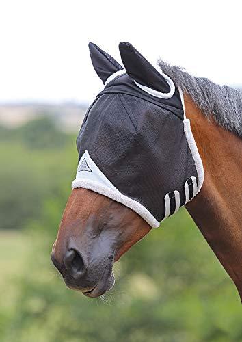 Shires, maschera antimosche per cavalli, con copertura orecchie, Nero , Full