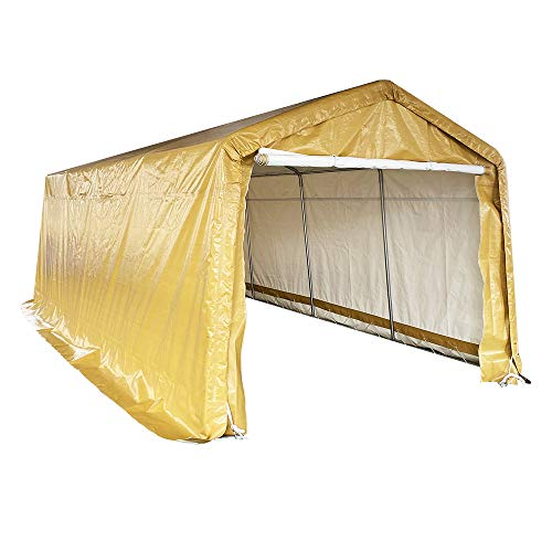 kdgarden 10' x 20' Heavy Duty Carport Portable Garage Enclosed Car Canopy Outdoor Instant Shelter Party Tent with Sidewalls for Auto and Boat Storage, Upgrade Waterproof and UV-Treated Fabric, Khaki