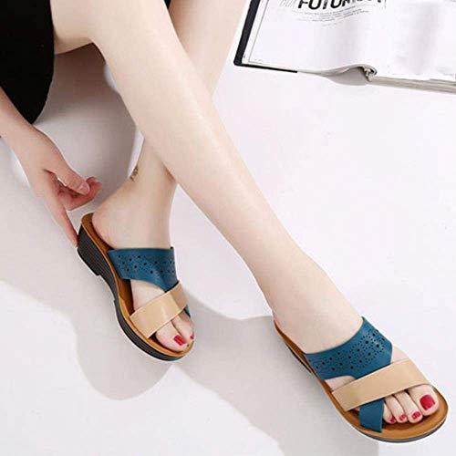 Fashion slippers Schoenen Dames Slippers Color-block helling met Summer Damesschoenen 2020 Dik-zolen Dikke zolen slippers Outdoor pantoffels van het strand, blauw, 41 (Color : Blue, Size : 37)