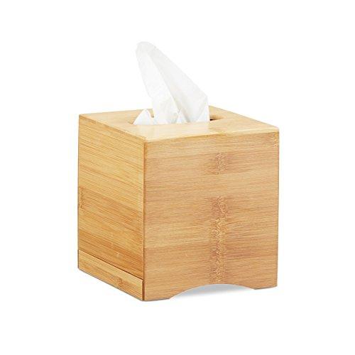 Relaxdays Kosmetiktücherbox quadratisch, Taschentuchbox Holz, Kosmetikbox Bambus, HxBxT: 15,5 x...
