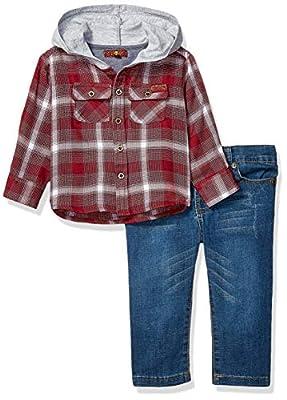 7 For All Mankind Baby Boys Denim Shirt and Twill Jean Set, Merlot Plaid, 18M