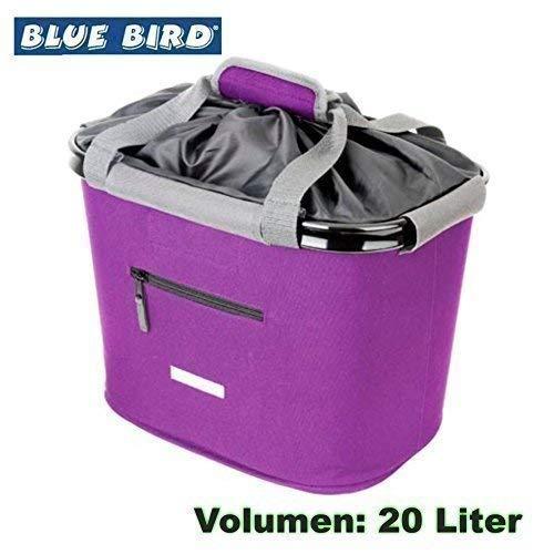 01170300 BLUE BIRD Lenkerkorb Fahrradkorb Korb versch. Farben Textil 20L (Violeta)