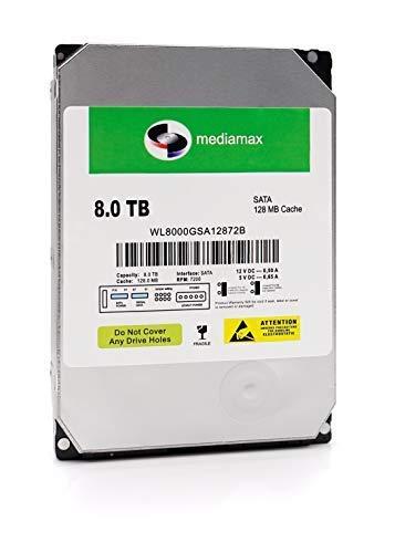 Mediamax 8TB interne Festplatte 3.5' HDD, SATA III, Cache 128MB, RPM: 7200 (U/min), 8000GB, WL8000GSA12872B, SATA Festplatte HDD intern 8 TB, Backup Festplatte für Desktop PC Gaming Computer