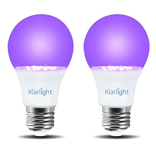 Klarlight 2 Pezzi E27 UV Lampadina a LED 7W, UV395-405nm, Vite Edison Lampada Fluorescente a Raggi Ultravioletti per Bagliore Nel buio, Festa, Vernice per il Corpo, Poster Fluorescente, Neon