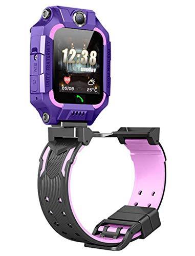 LNLJ Kids Smart Watch Dual Cámara Dual Flip 360 Rotación Impermeable LBS Posicionamiento SOS Teléfono Móvil Watch para 4-12 Niños,Púrpura