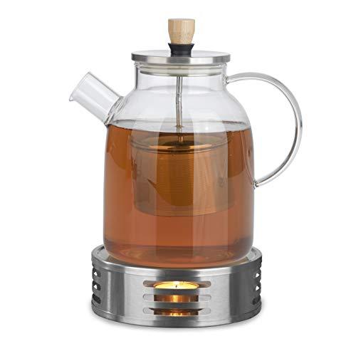 BEEM TEEKANNE 1,5 L und STÖVCHEN Set | 1,5 l Glaskanne mit Teesieb | Borosilikatglas | Edelstahl Stövchen | Teelichthalter | Einfache Reinigung | 12 Tassen