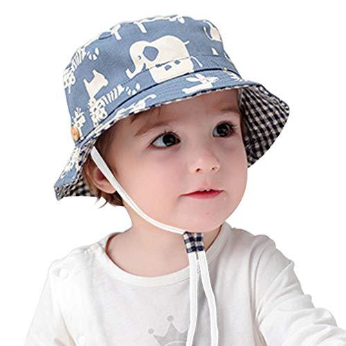Y-BOA Chapeau Soleil Bébé Fille Garçon Bob Motif Animal Coton Sport Extérieur Été (Tour de tête 43-45cm)