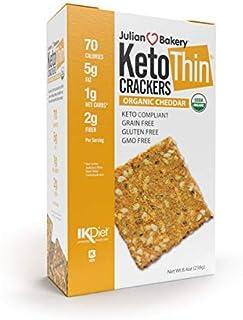 Julian Bakery Keto Thin Crackers   Organic Cheddar   USDA Organic   Gluten-Free   Grain-Free   GMO Free   Low Carb   1 Pack