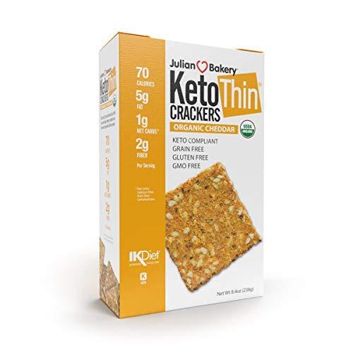 Julian Bakery Keto Thin Crackers | Organic Cheddar | USDA Organic | Gluten-Free | Grain-Free | GMO Free | Low Carb | 1 Pack