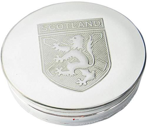 Caja de Baratijas de Peltre Gran León de Escocia Rampante St Andrew Cruz Tapa en Relieve 90mm