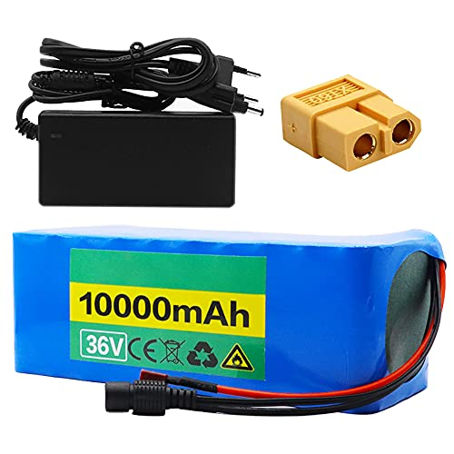 TGHY 36V 10Ah Batterie al Litio E-Bike con BMS e Caricabatterie Adatto per Motore 500W Pacco Batterie Personalizzabile per Scooter Elettrico Go-Kart Elettrico,Xt60