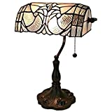 Tiffany Style Table Lamp Banker 13' Tall Stained Glass White Grey Vintage Antique Light Décor Nightstand Living Room Bedroom Handmade Gift AM250TL10 Amora Lighting
