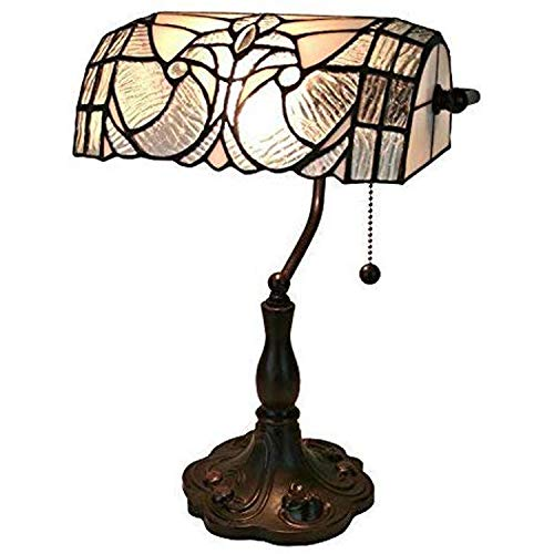 """Tiffany Style Table Lamp Banker 13"""" Tall Stained Glass White Grey Vintage Antique Light Décor Nightstand Living Room Bedroom Handmade Gift AM250TL10 Amora Lighting"""