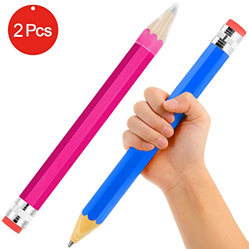 2 Stück Große Riese Holz Jumbo Bleistifte für Kinder, Entzückende DIY Holzbearbeitung Spielzeug Geschenke Schreibwaren Holz Bleistift, Schreiben und Löschen, Verwenden Sie Es zu Hause (Rosa und Blau)