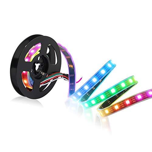 CHINLY 1m 60leds WS2812B Individuell adressierbar LED Streifen Licht SMD5050 RGB 60 Pixels Traumfarbe Wasserdicht IP67 Schwarz PCB 5V DC