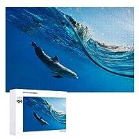 水中で泳ぐイルカ 500ピースのパズル木製パズル大人の贈り物子供の誕生日プレゼント1000ピースのパズル